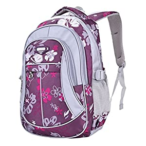 MAYZERO Waterproof School Bag Durable Travel Camping Backpack for Boys and Girls (Purple 1)