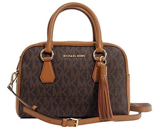 Michael Kors PVC & Leather Convertible Medium Tassel Satchel Crossbody Handbag Bag - Brown / Acorn