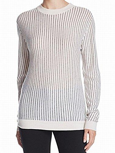 Dkny Wool Cardigan (DKNY Women's Large Striped Crewneck Wool Sweater White L)