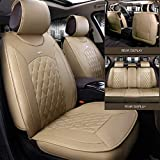 Black,Red,Beige Full Set Universal Fit 5 Seats Car 3D Surrounded Luxury Waterproof Pu Leather and Breathable Artificial Silk Car Seat Covers Trims for Sedan SUV (Beige)