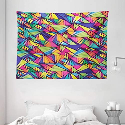 Ambesonne Indie Tapestry, Geometrical Hipster Pattern with Triangles Vibrant Optical Illusion Abstract, Wide Wall Hanging for Bedroom Living Room Dorm, 80 X 60 , Purple Coral