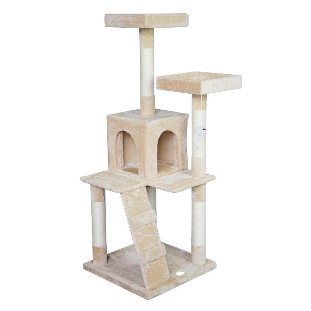 Beige PET 55 Cat Tree Sisal Rope Stable Structure Kitten Tree Activity Cat Climbing Jumping Frame Kitten Toy Scratcher Tree Bed House (color   Beige)