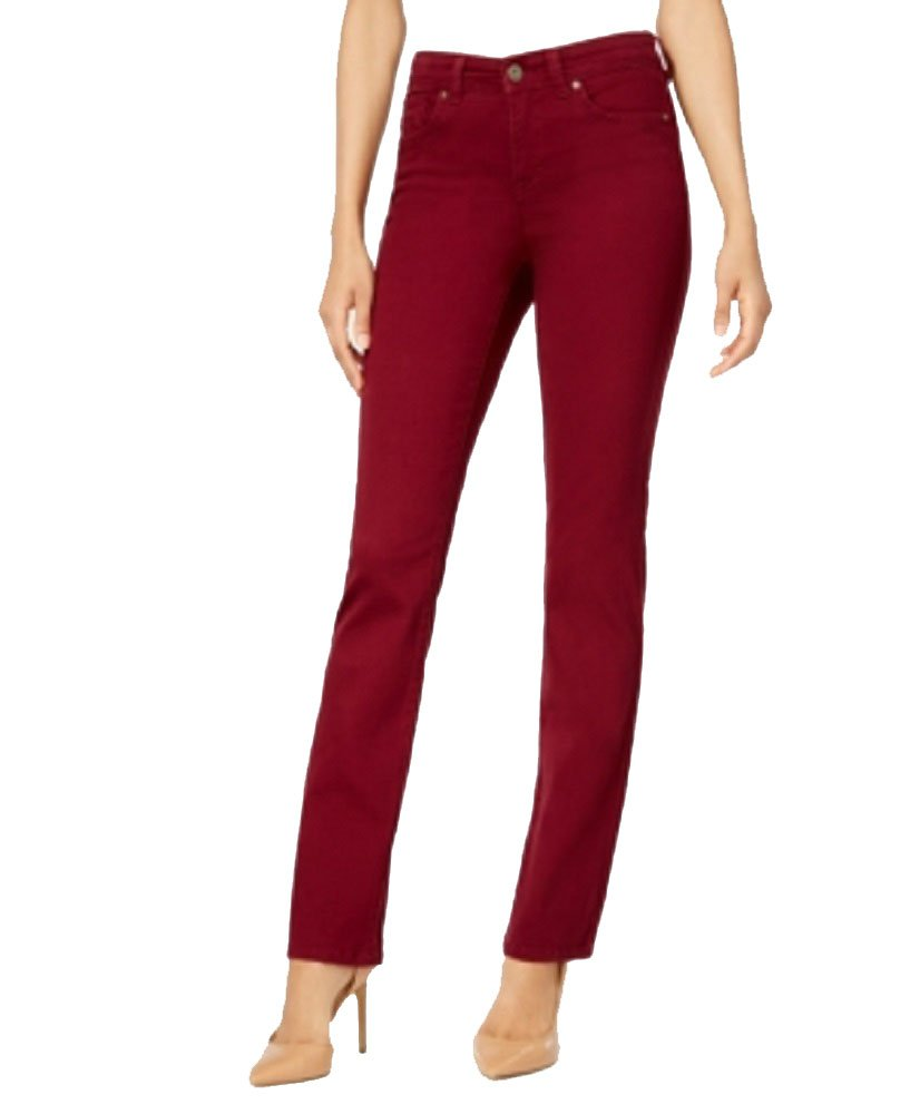 Style & Co. Tummy-Control Straight-Leg Jeans (Scarlet Wine, 12)