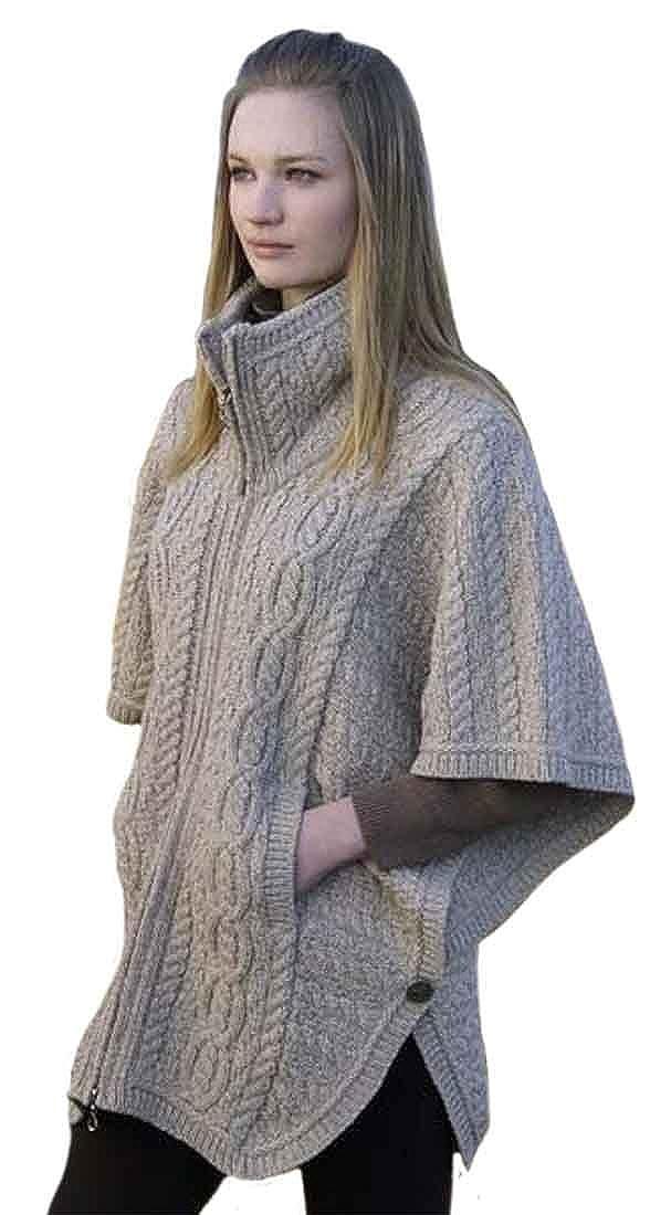 100% Merino Wool Aran Crafts Ladies Knit Double Collar Poncho, Parsnip