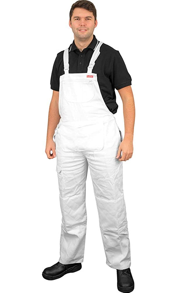 0b703ee2c2174 ProDec Painter & Decorator White Bib & Brace Overalls With Knee Pad  Pockets: Amazon.co.uk: Clothing
