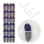 Over the Door Shoe Organizer, Magicfly 24 Mesh Pockets Hanging Shoe Storage Rack for Maximizing Shoe Storage, Accessories, Toiletries, Laundry Items, Beige