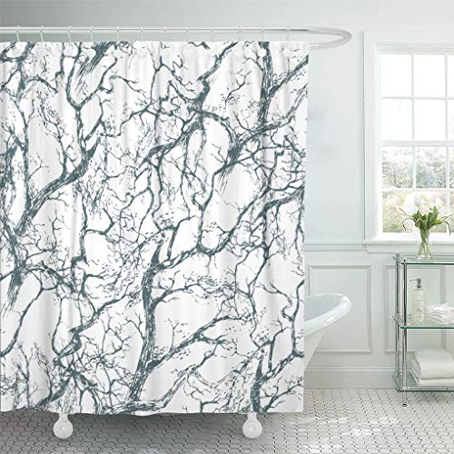 Semtomn Shower Curtain Black Branch The Intersecting of