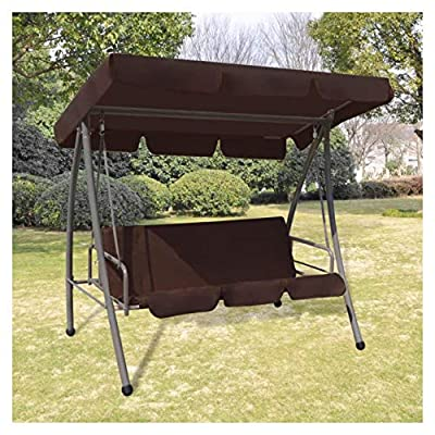 HEATAPPLY Porch Swing, Outdoor Swing Chair with Canopy Coffee