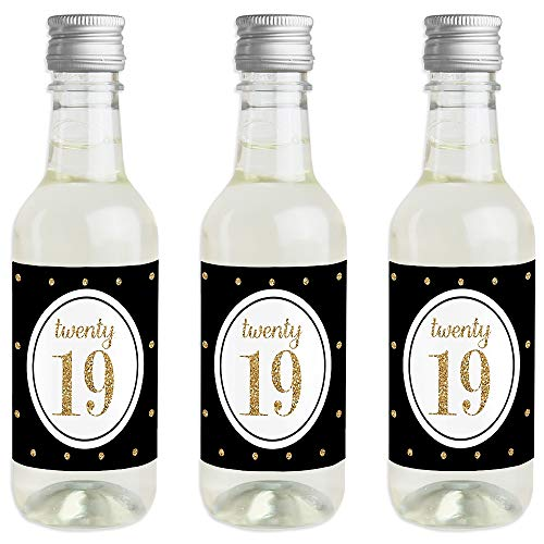 Gold - Tassel Worth The Hassle - Mini Wine and Champagne Bottle Label Stickers - 2019 Graduation Party Favor Gift for Women and Men - Set of 16