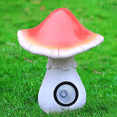 LOVEPET Outdoor Glass Steel Mushroom Ornaments Garden Mushroom Solar Light Simulation Sculpture Garden Ornament 23X23X32cm