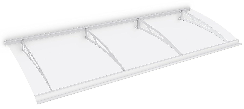 Schulte Vordach Haust/ür /Überdachung 240x90 cm Stahl wei/ß rostfrei Polycarbonat durchgehend transparent Pultvordach Style Plus