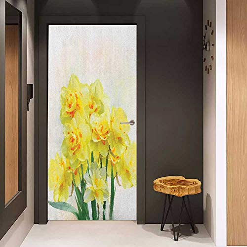 Onefzc Pantry Sticker for Door Daffodil Digital Watercolors Paint of Daffodils Bouquet Called Jonquils in England Lily Sticker Removable Door Decal W38.5 x H79 Yellow Green