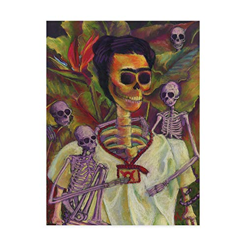 Trademark Fine Art Frida Skelly with Monkeys by Marie Marfia Fine Art, 35x47-Inch -