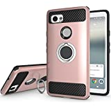 Newseego Compatible Google Pixel 2 XL Case with Armor Dual Layer 2 in 1 with Extreme Heavy Duty Protection and Finger Ring Holder Kickstand Fit Magnetic Car Mount for Google Pixel 2 XL-Rose Gold