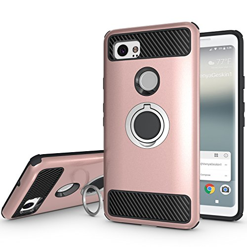 Newseego for Google Pixel 2 XL Case with Armor Dual Layer 2 in 1 with Extreme Heavy Duty Protection and Finger Ring Holder Kickstand Fit Magnetic Car mount for Google (Iron Arc Bracket)