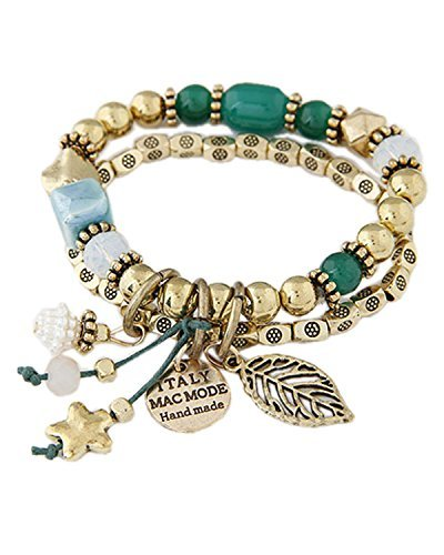 Young & Forever Women's Navratri Diwali Special Spring Glow Beads Charms Bracelet Gold Toned, Blue by Young & Forever