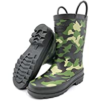 Rongee Camouflage Printed Toddler Little Boys Girls Kids Rubber Rain Boots with Handles and Oxford Bag Packed