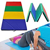 HITSAN 94x47x1.96 Inch 4 Folding Panel Gymnastics Mat Rainbow Colors Gym Exercise Running Fitness Yoga Pad One Piece
