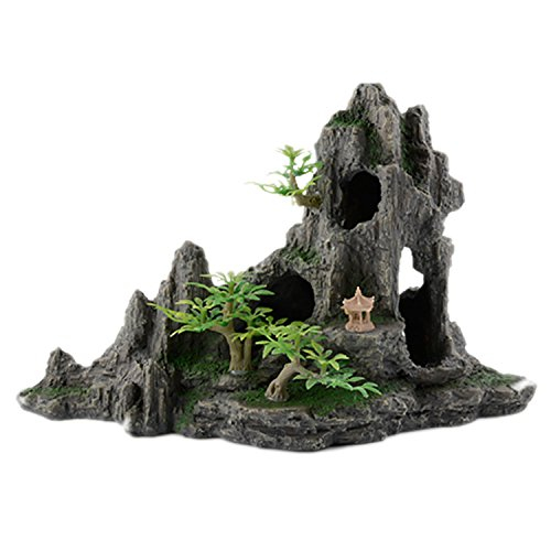 pranovo Mountain View Rockery Landscape Decor Rock Hiding Cave Tree with Tree Artificial Aquarium Ornament Fish Tank Decoration