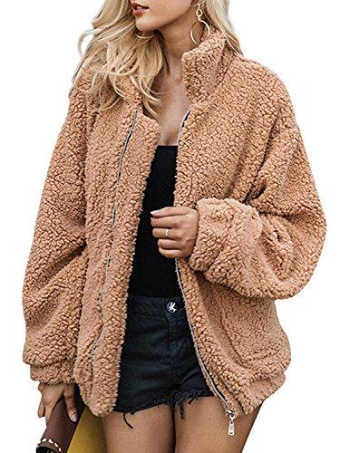 BerryGo Women's Faux lambswool Fluffy Teddy Bear Coat Outwear Light Camel,L
