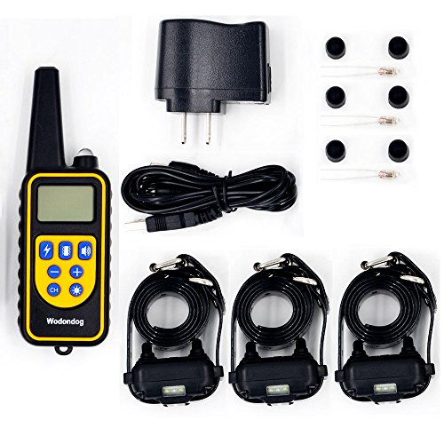 Wodondog Dog Training Collar Rechargeable and IPX7 Waterproof 870yards Remote Dog Shock Collar with Beep Vibration and Shock Electric Collar for 3 Dogs