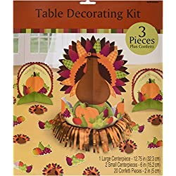 "Amscan Turkey Dinner Thanksgiving Party (23Piece) Table Decorating Kit, 12.5"", Multicolor"