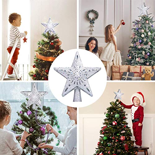 Christmas Tree Topper with LED Lighted Snowflake Projector, Silver Glittered Star Tree Topper for Christmas Tree Decorations Indoor LED Night for Christmas Nursery Bedroom Holiday Decoration