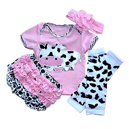 Reborn Doll Accessories (Reborn Baby Doll Clothes Outfit for 20-23 Inch Reborns Newborn Babies Matching Clothing Pink Dairy Cow Four-Piece Set)