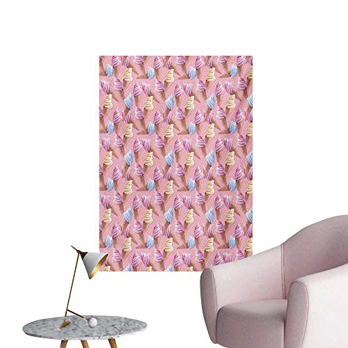 Anzhutwelve Ice Cream Wallpaper Dessert with ICY Cones in Watercolor Summer Season ImagePale Pink and Blue Sand Brown W32 xL36 The Office Poster
