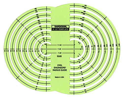 - Rapidesign Civil Engineers' Radius Guide Template, 1 Each (R127)