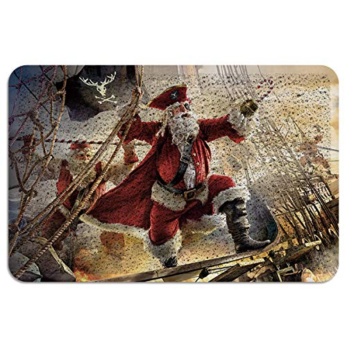 Indoor Outdoor Floor Mats for Entryway,All Weather Door Mats for High Traffic Areas,Santa Claus Dressed Up As Pirates Floor Mats with Shoe Scraper,Entrance Door Mat with Rubber Backing,18 x 30 Inch]()