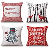 BLUETTEK Red Christmas Throw Pillow Covers Set of 4, Accent Pillow Cases 18x18 Inch Home Couch Car Decorative (Modern Xmas Set of 4)
