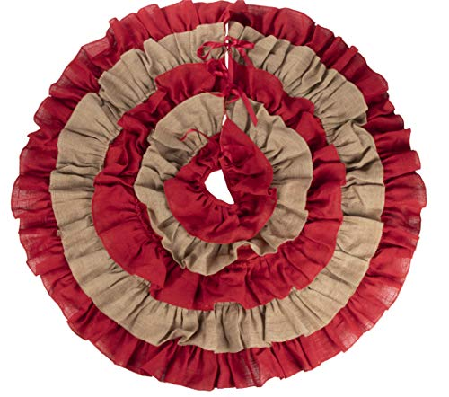 Burlap Christmas Tree Skirt - 48-Inch Ruffled Skirt, Winter Holiday Decoration, Red and Natural Brown Colors, Classic Style Indoor Festive Season Decor (Red Burlap Christmas Tree Skirt)