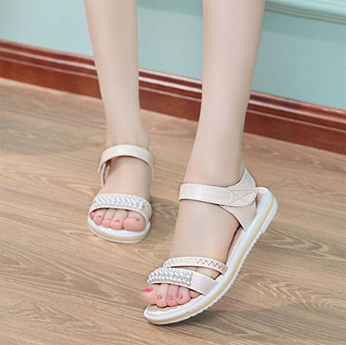 zapatos planos con planos de las sandalias antideslizantes inferiores suaves mujeres j