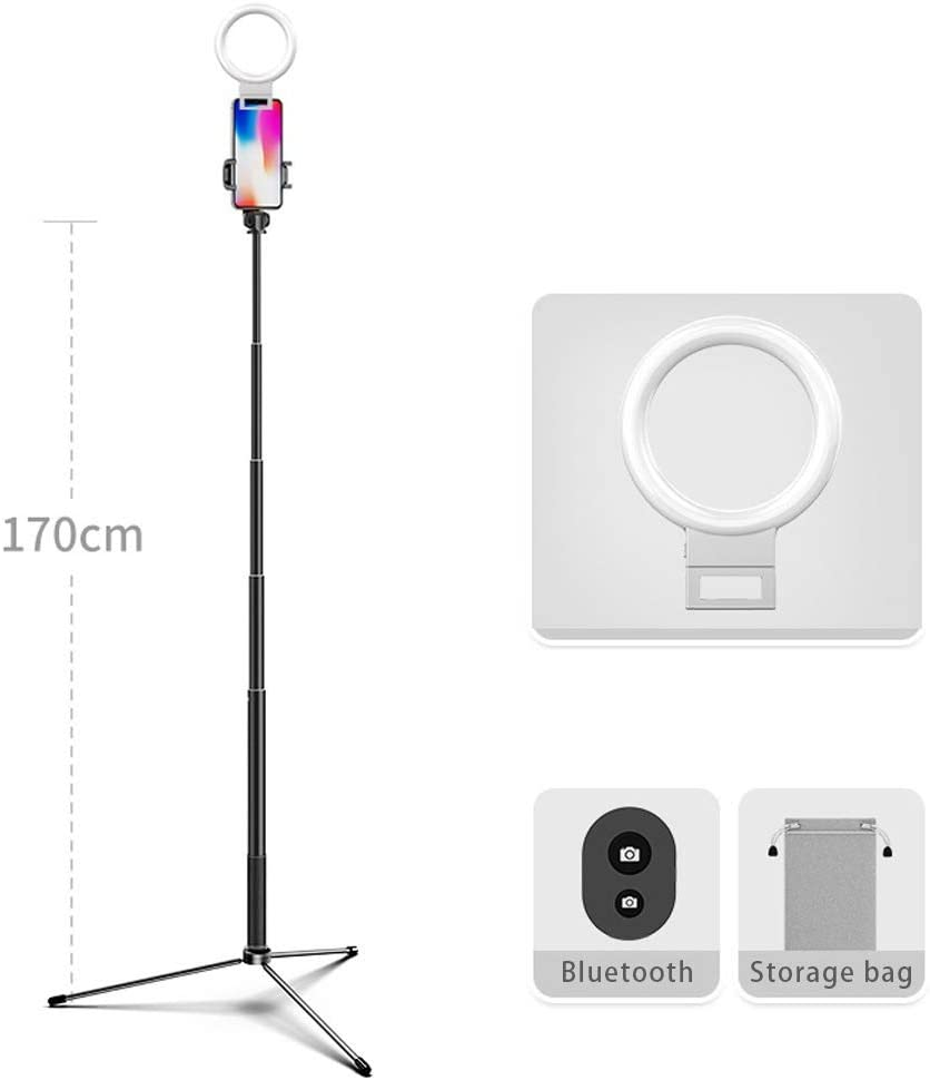 Color : Black Style 1 JIAX LED Ring Light with Tripod Stand and Phone Holder for Selfie,with 3 Light Modes,Portable Travel Triangle Floor Selfie Stick,Adjustable Color Temperature Warm