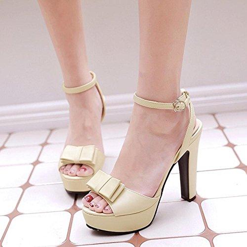 TAOFFEN Mujer Zapatos Moda Tacon Ancho Tacon Alto Plataforma Sandalias De Bowknot De Al Tobillo Beige
