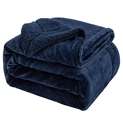 Sivio Sherpa Fleece Blanket Twin Size 200x150cm Dual Sided Navy Blue Plush Throw Blanket Fuzzy Soft Blanket Microfiber for Couch, Bed, Sofa Ultra Luxurious Warm and Cozy for All Seasons
