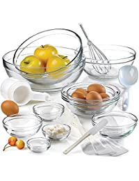Get Anchor Hocking 10-piece Glass Mixing Bowl Set Includes Serving Spoon, Whisk, Five-piece Measuring Cups, Four-piece... saleoff