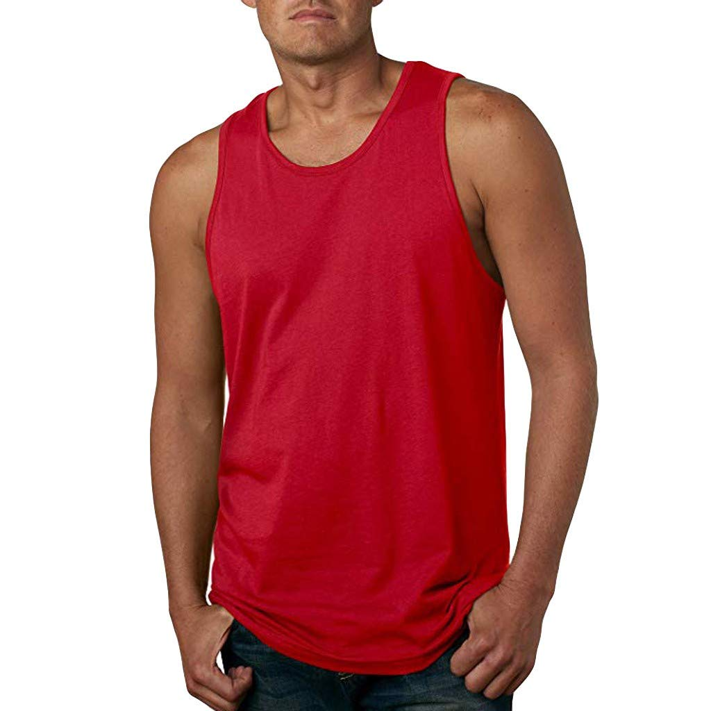 PASHY Funny T Shirts O Neck, Mens Pure Color Fashion Sleeveless Leisure Sports Vest Tops - Slim Fit Shirts Red