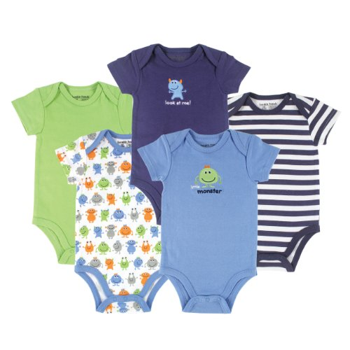 Luvable Friends Unisex Baby Cotton Bodysuits, Monster Short Sleeve 5 Pack, 3-6 Months (6M) ()