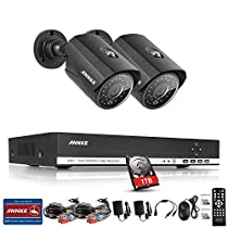 ANNKE 8CH 1.0MP Security Camera System 1080N Digital Video Recorder with 1TB Hard Drive and (2) 1280x720p 1280TVL Outdoor Fixed Weatherproof Cameras, HDMI Output, QR Code Scan to Remote View