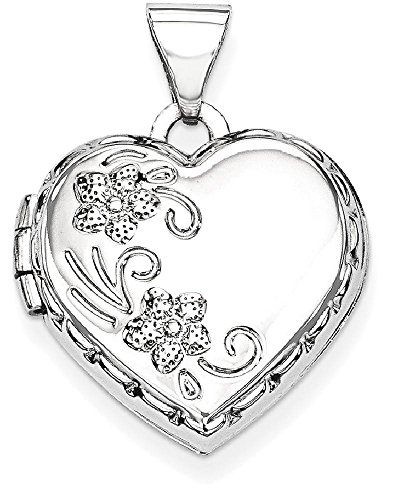 ICE CARATS 14k White Gold Heart Shaped Reversible Floral Photo Pendant Charm Locket Chain Necklace That Holds Pictures by ICE CARATS