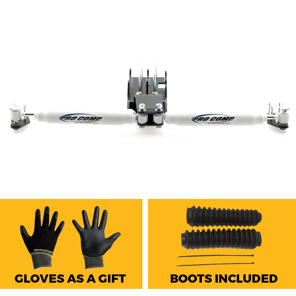 Pro Comp 222586 Dual ES2000 Steering Stabilizer Kit with Black Boots for 2007-2017 Jeep Wrangler JK/JKU with Our Pair of Gloves Pro Comp / Autoshopping24