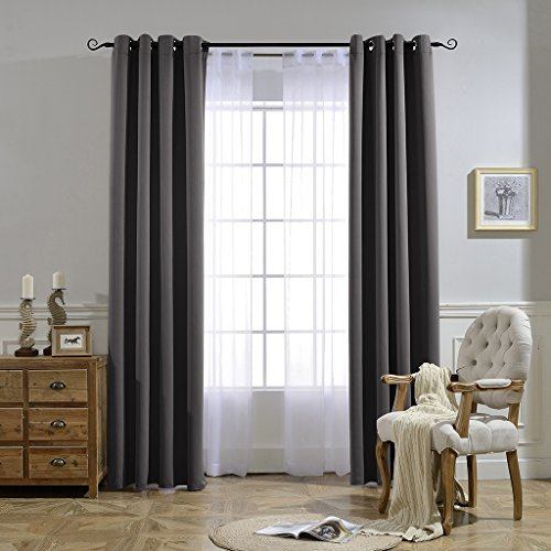 Construction Time Lined Curtains: NICETOWN Blackout Curtains Panels For Bedroom