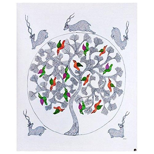 Gangesindia Tree of Joy - Gond Painting on Canvas