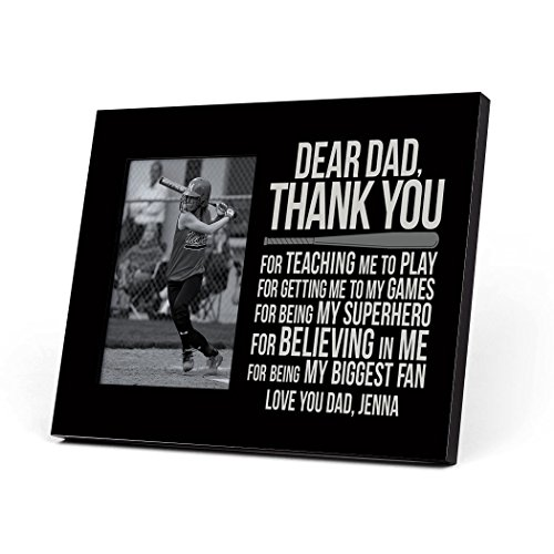 Frame Softball - ChalkTalkSPORTS Softball Dear Dad Personalized Picture Frame | Black
