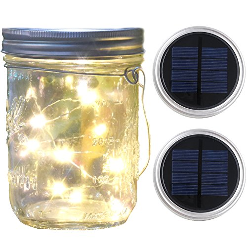 Mason Jar Lights Wide Mouth,Waterproof Outdoor Solar Powered Lights Sliver Lid Warm White Solar Fairy Light String Light, 2 Pack for Party Wedding Christmas Garden Home Patio Path Tree Lawn Decor