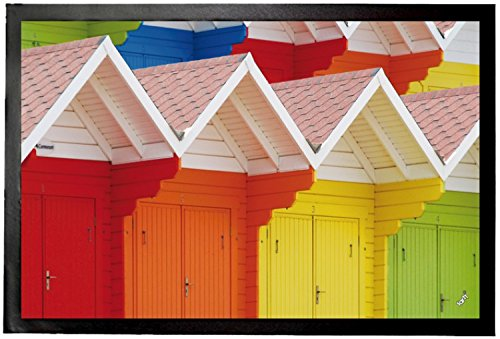 1art1 Huts Door Mat Floor Mat - Colourful Beach Huts in Scarborough, UK (24 x 16 ()