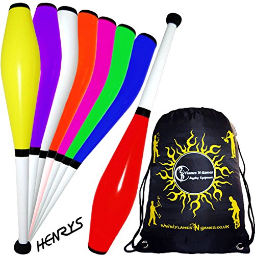3x HENRYS DELPHIN Pro Juggling Clubs Set of 3 + Flames N Games Travel Bag! Quality Training Juggling Club Ideal For Number Juggling & Passing! -