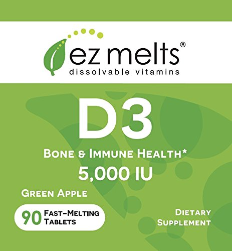 EZ Melts D3 as Cholecalciferol, 5,000 IU, Sublingual Vitamins, Vegetarian, Zero Sugar, Natural Apple Flavor, 90 Fast Dissolve Tablets by EZ Melts (Image #1)